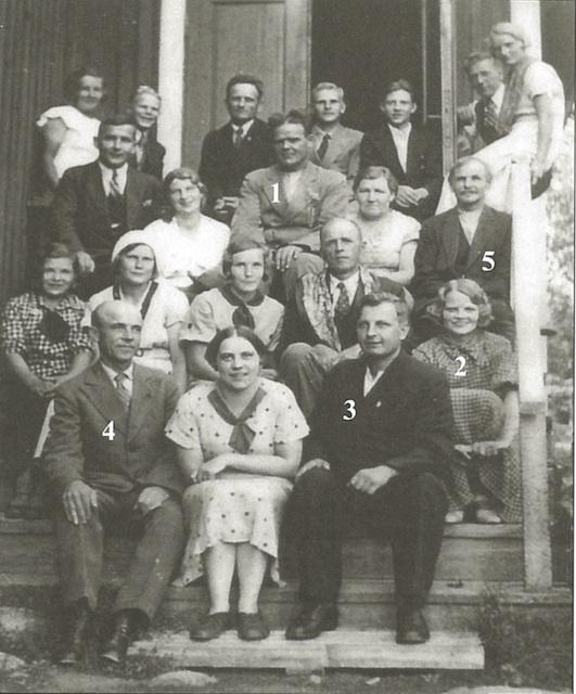 Nuorisoseuralaisia kerhotilan rappusilla 1930-luvulla